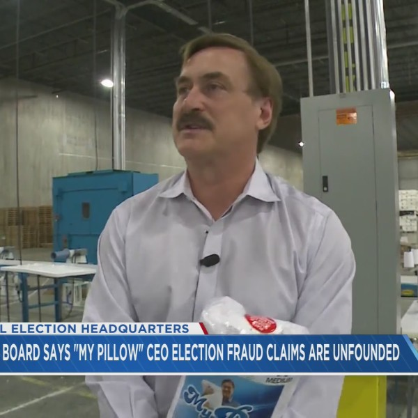 My Pillow CEO Mike Lindell inside a My Pillow factory