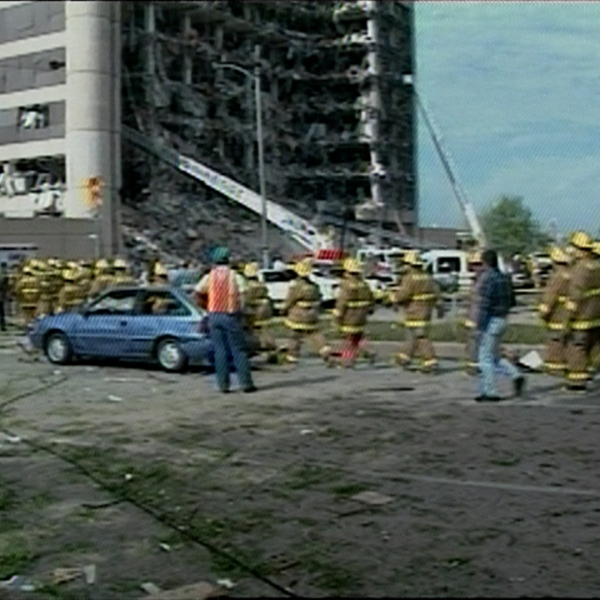 Firefighters at the Oklahoma City bombing in 1995